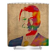 Ronald Reagan Watercolor Portrait on Worn Distressed Canvas Shower Curtain by Design Turnpike