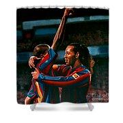 Ronaldinho And Eto'o Shower Curtain by Paul Meijering