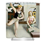 Rooftop Annunciation Two Shower Curtain by Caroline Jennings