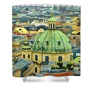 Rooftops Of Vienna Shower Curtain by Jeff Kolker