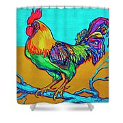 Rooster Perch Shower Curtain by Derrick Higgins