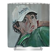 Rory Mcilroy Shower Curtain by John Halliday