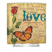 Roses and Butterflies 2 Shower Curtain by Debbie DeWitt