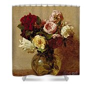 Roses Shower Curtain by Ignace Henri Jean Fantin-Latour