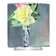 Roses In A Champagne Glass Shower Curtain by Edouard Manet