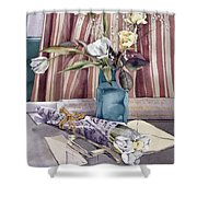 Roses Tulips And Striped Curtains Shower Curtain by Julia Rowntree