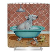 Rosie In The Bliss Bubbles Shower Curtain by Cynthia House
