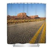 Route 128 Near Castle Valley Shower Curtain by Adam Romanowicz