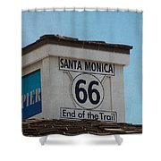 Route 66 - End Of The Trail Shower Curtain by Kim Hojnacki
