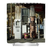 Route 66 Pumps Shower Curtain by Bob Christopher
