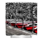 Row Of Red Rowing Boats Shower Curtain by Kaye Menner