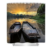 Rowboats On The River Shower Curtain by Debra and Dave Vanderlaan