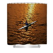 Rowing Into The Sunset Shower Curtain by Bill Cannon