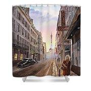 Rue Saint Dominique Sunset Through Eiffel Tower   Shower Curtain by Irina Sztukowski