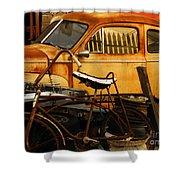 Rust Race Shower Curtain by Joe Jake Pratt