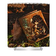 Rusted Can Of Leaves Shower Curtain by Jack Zulli