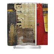Rustic Industrial Print Times 3 Shower Curtain by Anahi DeCanio
