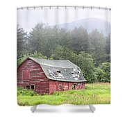 Rustic Landscape - Red Barn - Old Barn And Mountains Shower Curtain by Gary Heller