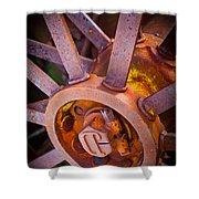 Rusty Spokes Shower Curtain by Inge Johnsson