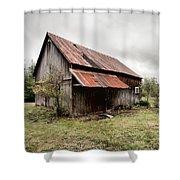 rusty tin roof barn Shower Curtain by Gary Heller