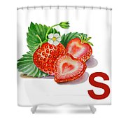 S Art Alphabet for Kids Room Shower Curtain by Irina Sztukowski