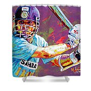 Sachin Tendulkar Shower Curtain by Maria Arango