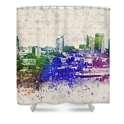 Sacramento City Skyline Shower Curtain by Aged Pixel