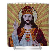 Sacred Heart Of Jesus Hand Embroidery Shower Curtain by To-Tam Gerwe