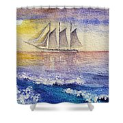 Sailboat in the Ocean Shower Curtain by Irina Sztukowski