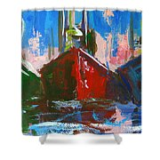 Sailboat Shower Curtain by Patricia Awapara