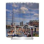 Sailboats In Constitution Marina - Boston Shower Curtain by Joann Vitali