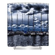 sailboats Shower Curtain by Stylianos Kleanthous