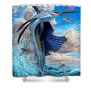 Sailfish And Flying Fish Shower Curtain by Terry Fox