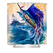 Sailfish And Sportfisher Art Shower Curtain by Savlen Art