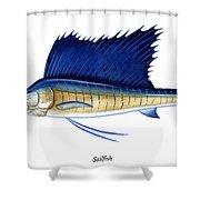 Sailfish Shower Curtain by Charles Harden