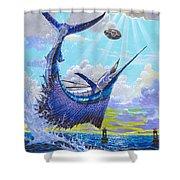 Sailfish Football Off0030 Shower Curtain by Carey Chen