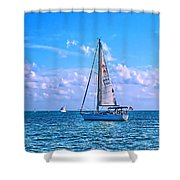 Sailing Off Of Key Largo Shower Curtain by Chris Thaxter