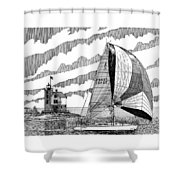 Holland Harbor Lighthouse And Spinaker Flying Sailboat Shower Curtain by Jack Pumphrey