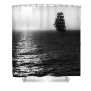 Sailing Out Of The Fog - Black And White Shower Curtain by Jason Politte