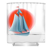Sailing Red Sun Shower Curtain by Ben and Raisa Gertsberg