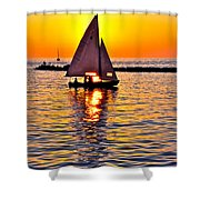 Sailing Silhouette Shower Curtain by Frozen in Time Fine Art Photography