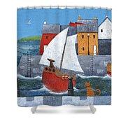 Sailor Dog Variant 1 Shower Curtain by Peter Adderley
