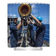 Sailors Load Rim-7 Sea Sparrow Missiles Shower Curtain by Stocktrek Images