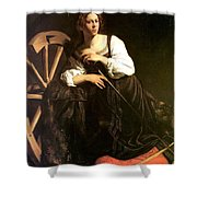 Saint Catherine Of Alexandria Shower Curtain by Caravaggio