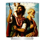 Saint Christopher With Saint Peter Shower Curtain by Digital Reproductions