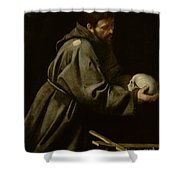 Saint Francis In Meditation Shower Curtain by Michelangelo Merisi da Caravaggio