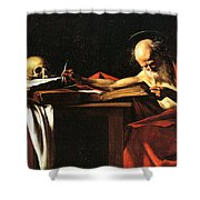 Saint Jerome Writing Shower Curtain by Caravaggio