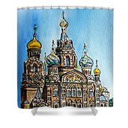 Saint Petersburg Russia The Church Of Our Savior On The Spilled Blood Shower Curtain by Irina Sztukowski