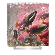 Salmon Run - Square - Painterly - 2013-0103 Shower Curtain by Wingsdomain Art and Photography