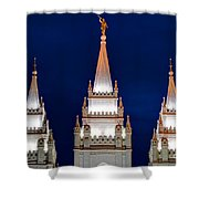 Salt Lake Lds Mormon Temple At Night Shower Curtain by Gary Whitton